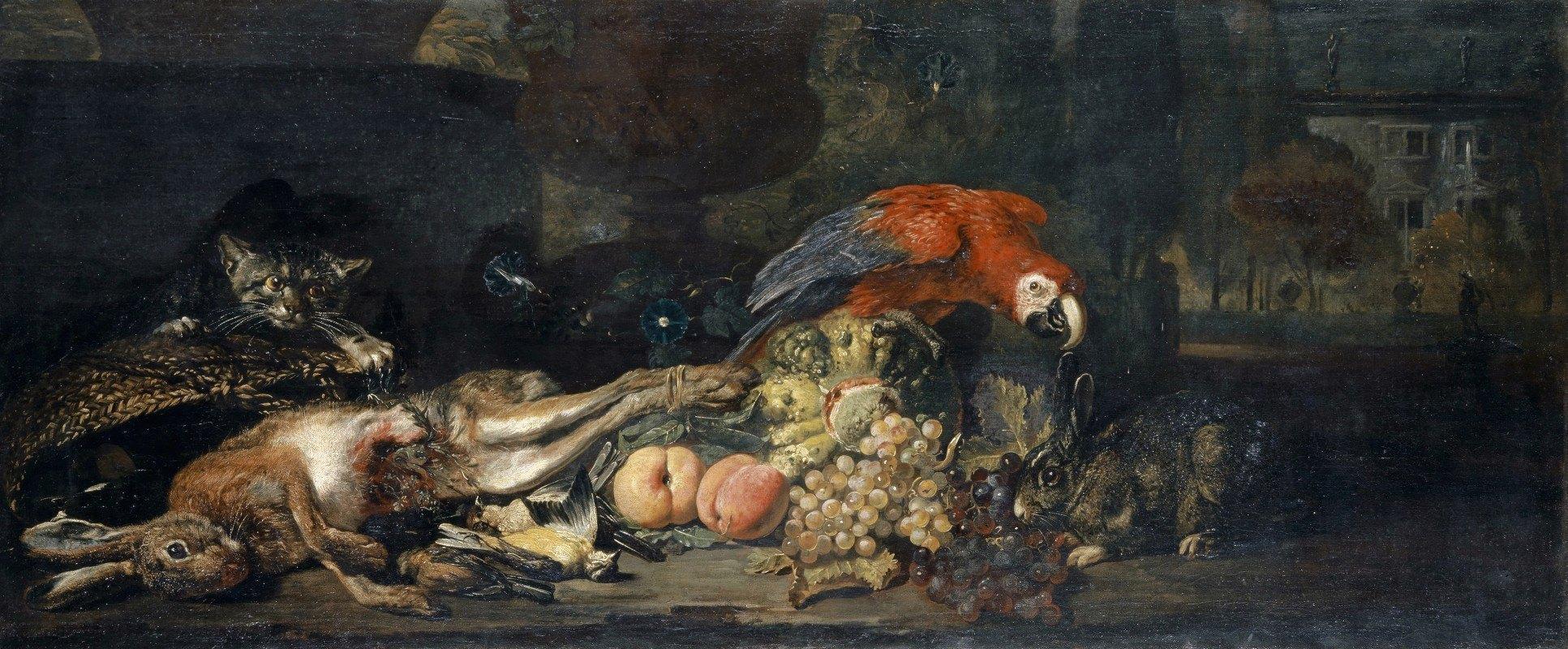 David de Coninck - Still Life With Game And Fruits, Parrot, Rabbit And Cat