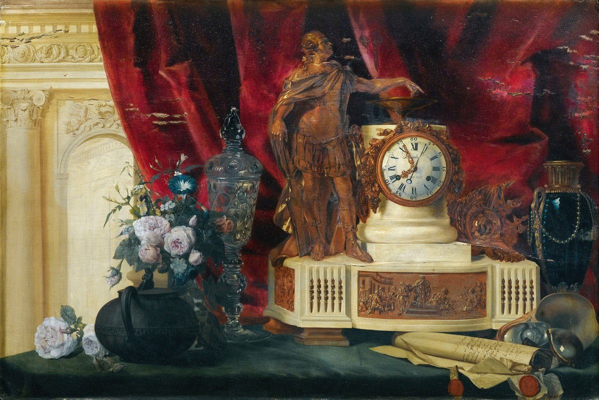 François-Léonard Dupont - Still Life With A Gilt Bronze Mantle Clock And Sèvres Porcelain Vase