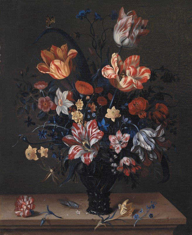 Helena Roouers - Tulips And Other Flowers In A Rummer