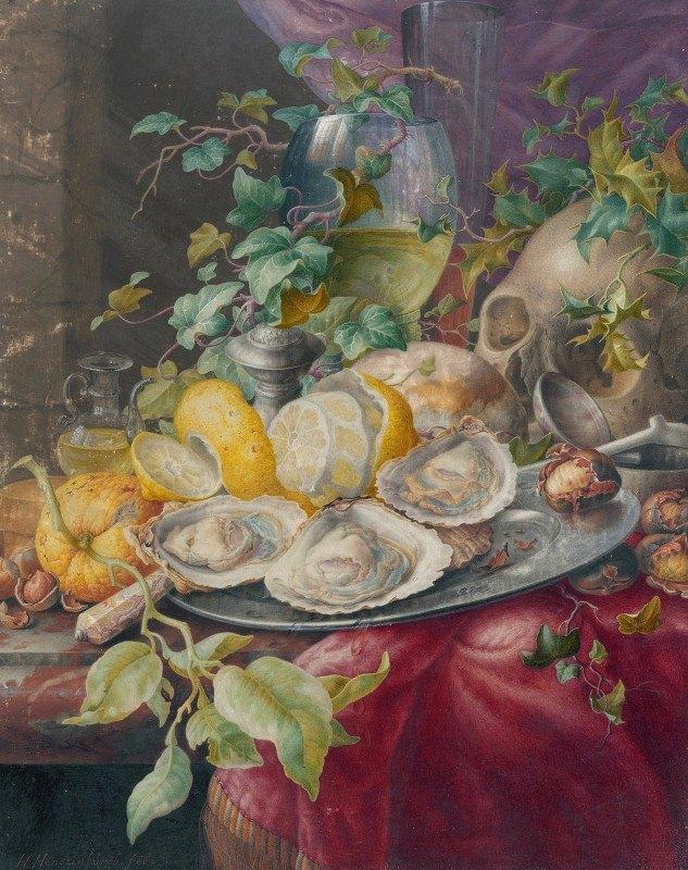 Herman Henstenburgh - Vanitas Still Life With Oysters And Skull