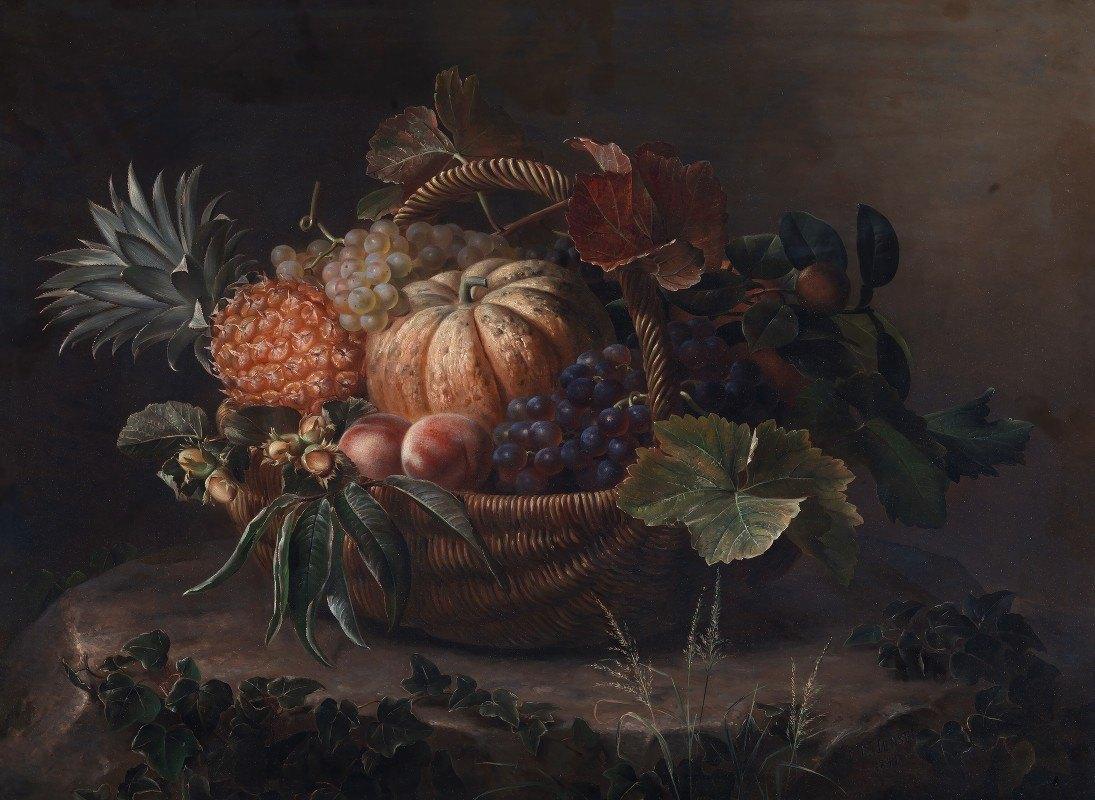 Johan Laurentz Jensen - En Kurv Med Frugter På En Træstub
