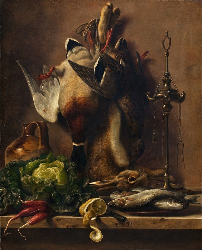 Johan Laurentz Jensen - Still Life On A Kitchen Tabletop