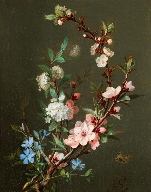 Jean-Baptiste Gallet - A Still Life With Branches Of Cherry Blossom, Periwinkle And Viburnum Together With A Butterfly