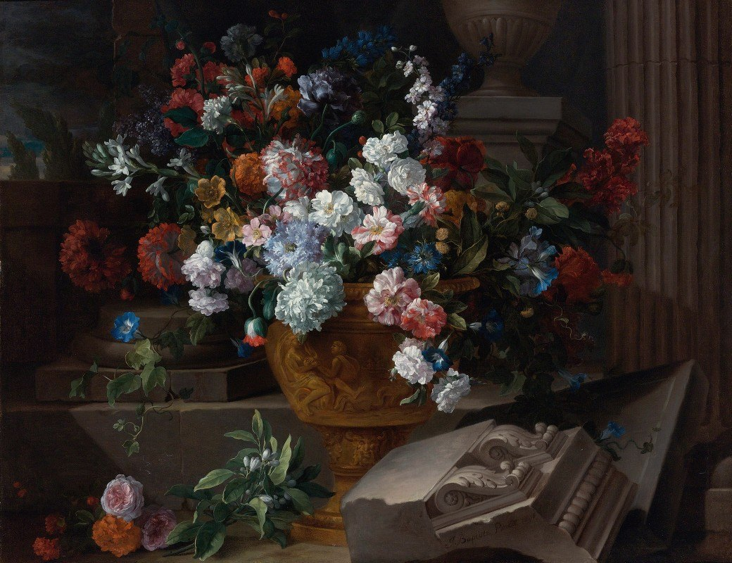Jean-Baptiste Monnoyer - Still Life With Flowers In A Sculpted Urn With Architectural Fragments On A Terrace