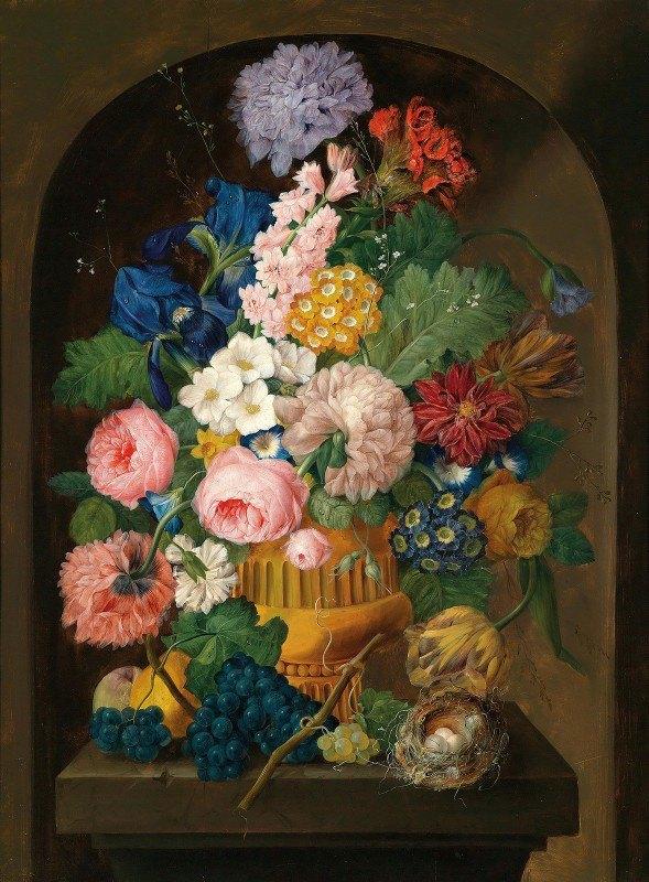 Johann Baptist Drechsler - Still Life Of Flowers With A Bird'S Nest