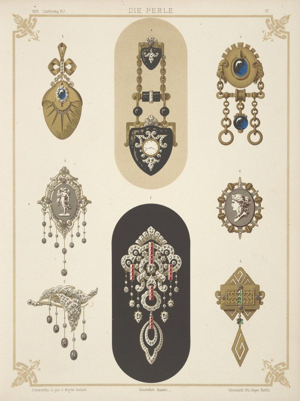 Martin Gerlach - Eight Designs For Jewelry, Including Black And Gold Brooch With Tiny Watch.