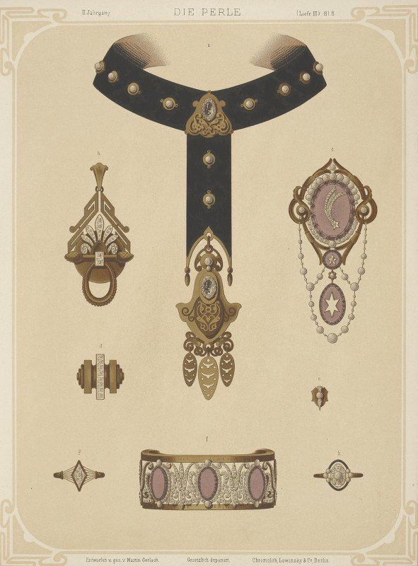 Martin Gerlach - Ii Jahrgang (Liefr. Iii) Bl. 8. [Eight Designs For Jewelry, Including Black Choker With Gold Pendant.]