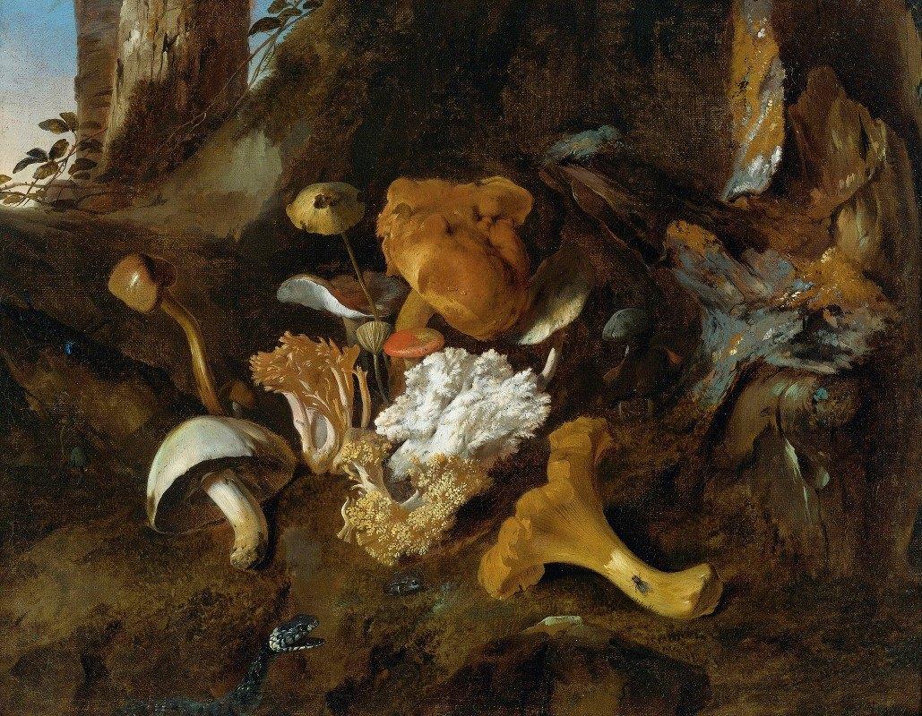 Otto Marseus van Schrieck - Forest Floor Still Lifes With Mushrooms, Butterflies And A Snake