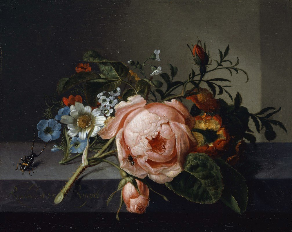 Rachel Ruysch - Still Life With Rose Branch, Beetle And Bee