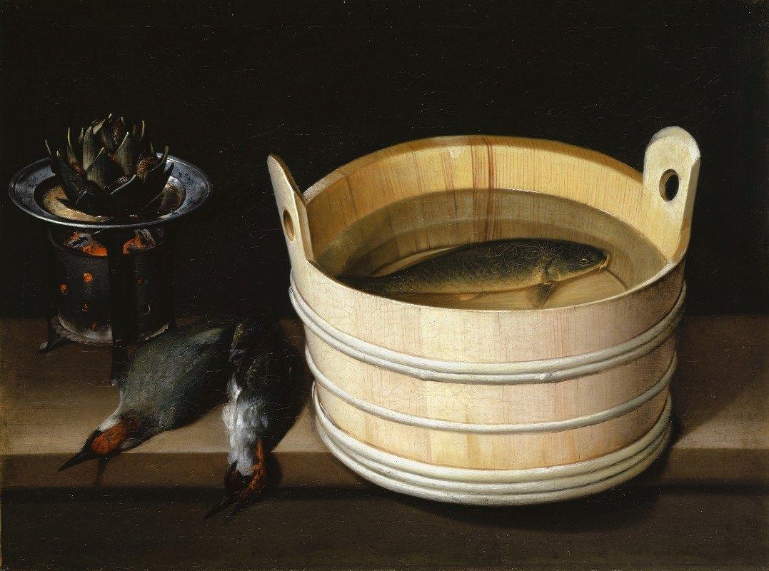 Sebastian Stoskopff - Brazier With Artichoke, Woodpeckers And Watertub With Carp
