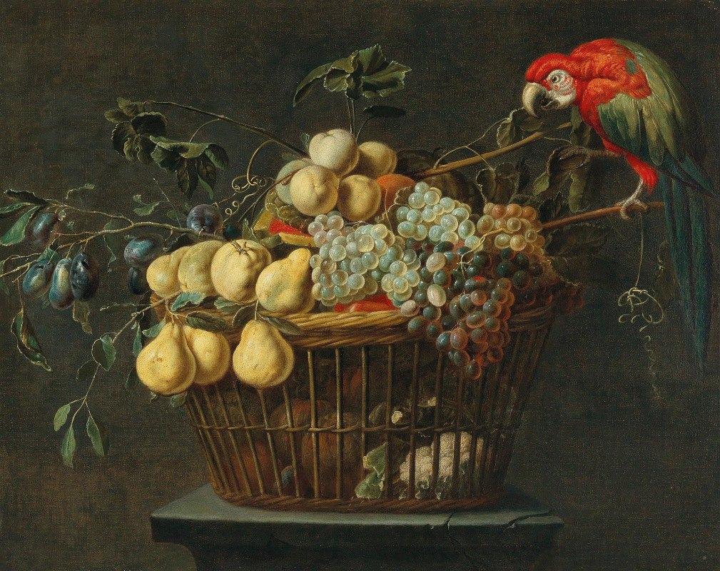 Adriaen van Utrecht - Still life of a basket of fruit with a parrot