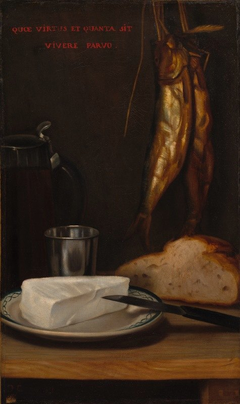 Alexandre-Gabriel Decamps - Still Life with Herring, Bread, and Cheese