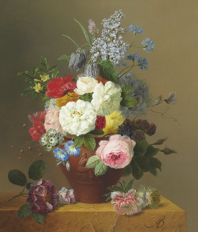 Arnoldus Bloemers - Roses, Poppies, Cornflowers, Convulvulus, Jasmine, Fritilleries, a Primula, a Peony, and Lilac in a terracotta Vase with a Sprig of Roses and other Flowers on a Stone Ledge