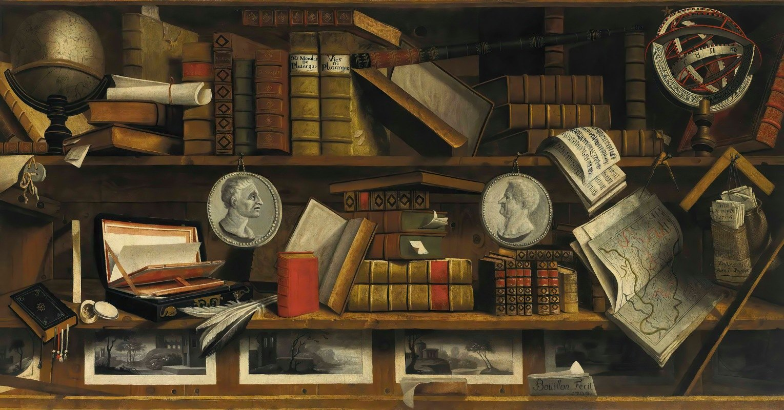 Charles Bouillon - A trompe l'oeil of a collector's study with engravings, drawings, letters and books