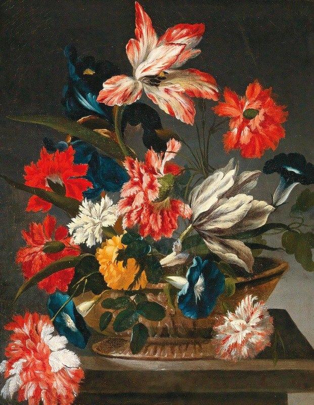 Francesco Caldei - Flowers in a decorative vase on a stone ledge