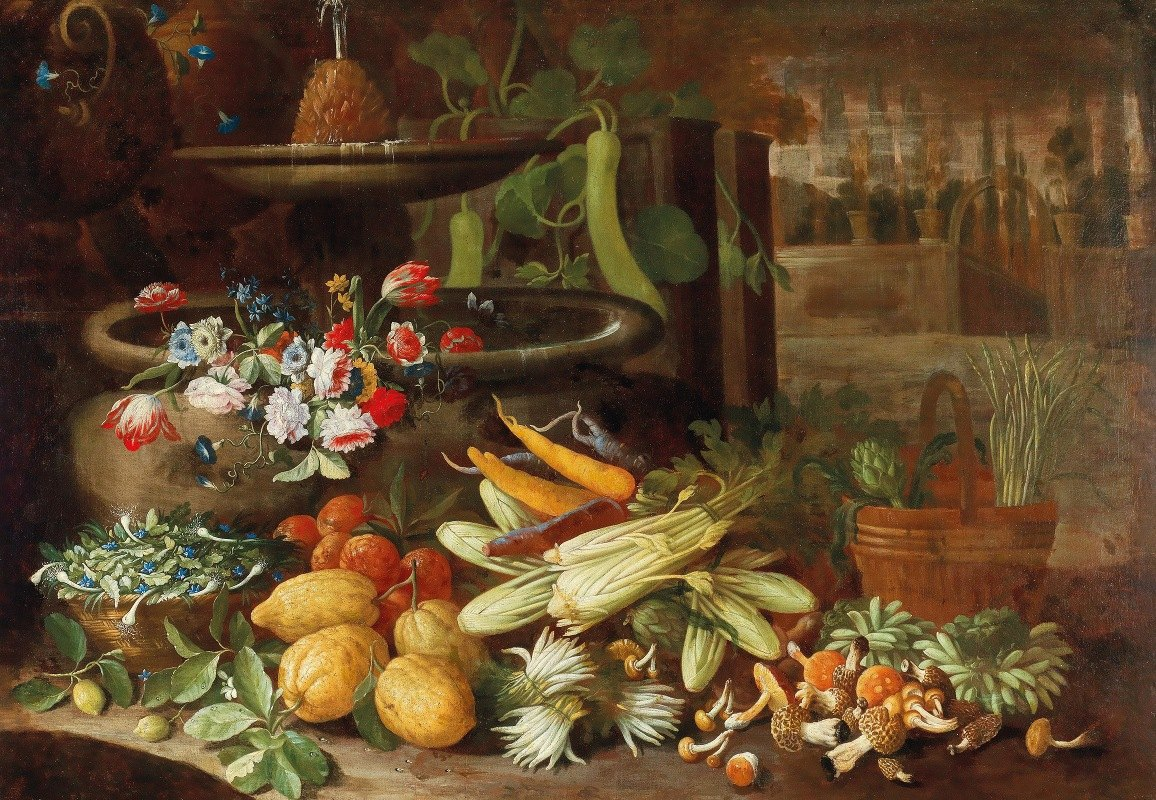 Francesco della Questa - Flowers, fruit, and vegetables, with mushrooms beside a fountain in a villa garden