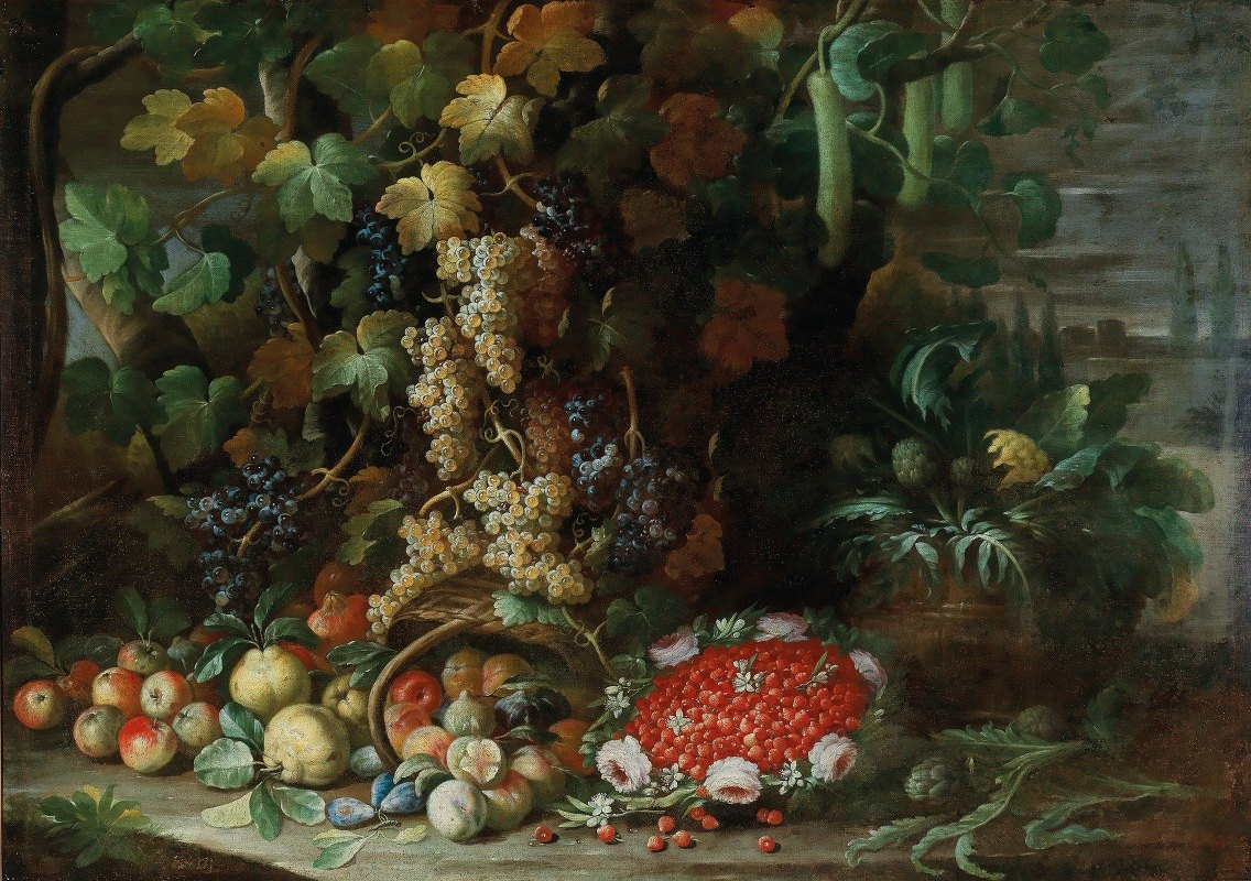 Francesco della Questa - An overturned basket of fruit, flowers and vegetables with a strawberry-filled garland in a villa garden
