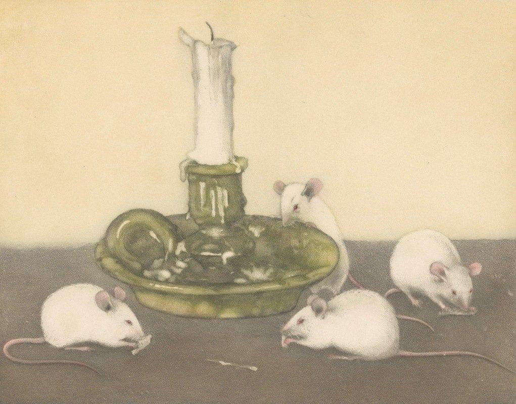 Frans Everbag - Vier muizen bij een kandelaar
