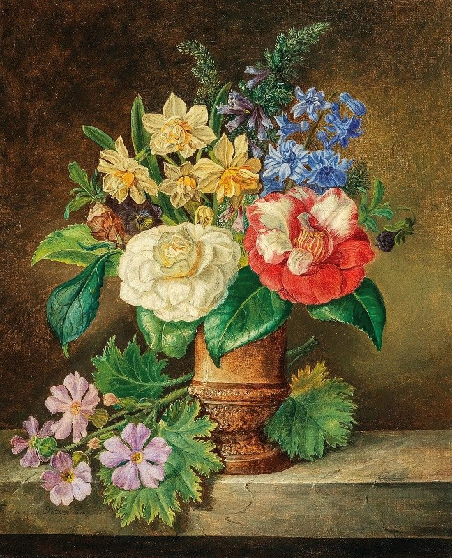 Franz Xaver Petter - A Bouquet of Flowers with Daffodils and Camelias