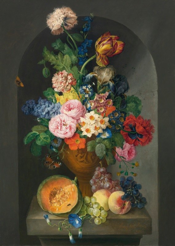 Franz Xaver Petter - A Bronze Urn Of Flowers, With A Melon, Peaches And Grapes, A Butterfly And A Caterpillar