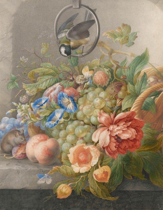 Herman Henstenburgh - Stilleven met bloemen, vruchten, een koolmees en een muis