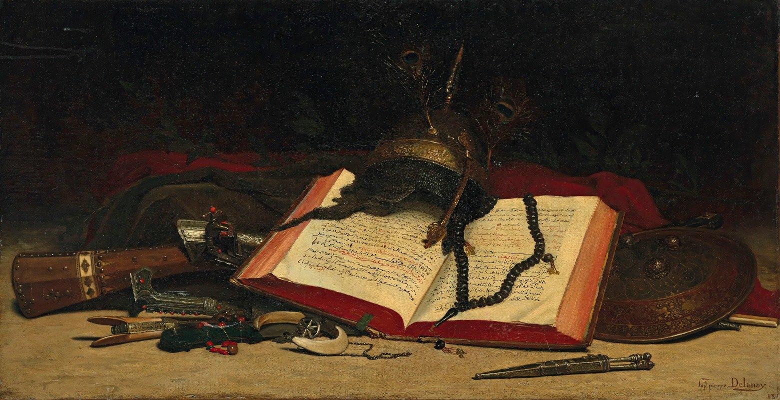 Hippolyte Pierre Delanoy - Orientalist still life with a Koran