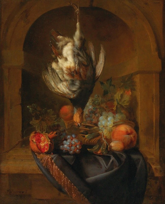Jan Weenix - A partridge and fruit in a partially draped niche