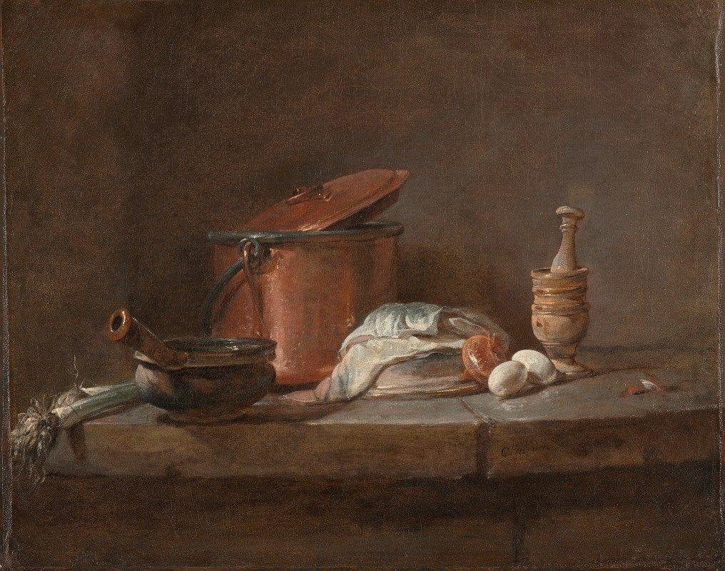 Jean-Baptiste-Siméon Chardin - Kitchen Utensils with Leeks, Fish, and Eggs