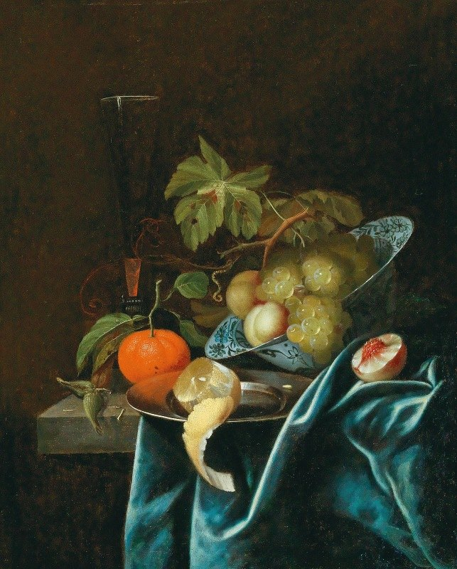 Johannes Borman - Oranges, lemons and peaches on a tin plate and a Wan-Li-bowl