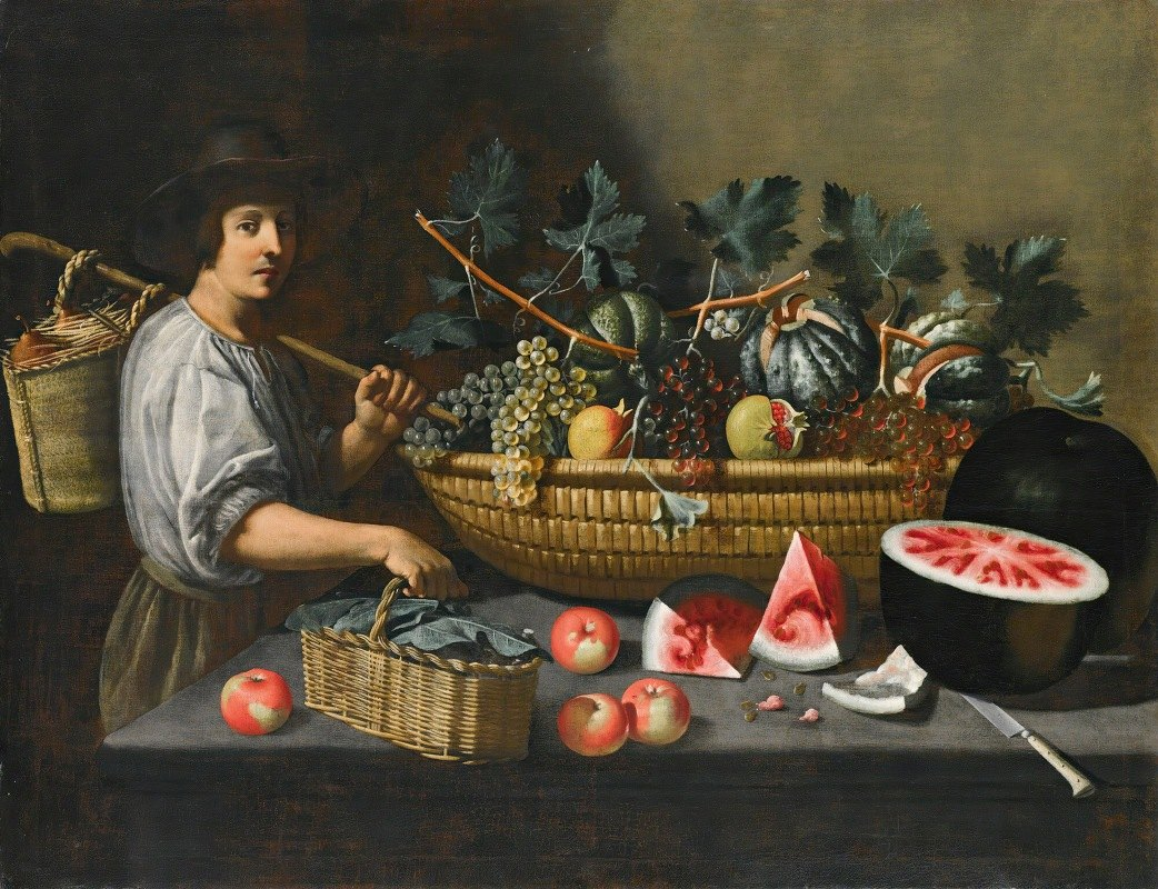 Pseudo Pietro Paolo Bonzi - A Still Life Of Grapes, Melons And Pomegranates On A Stone Ledge With A Figure Carrying A Basket On The Left