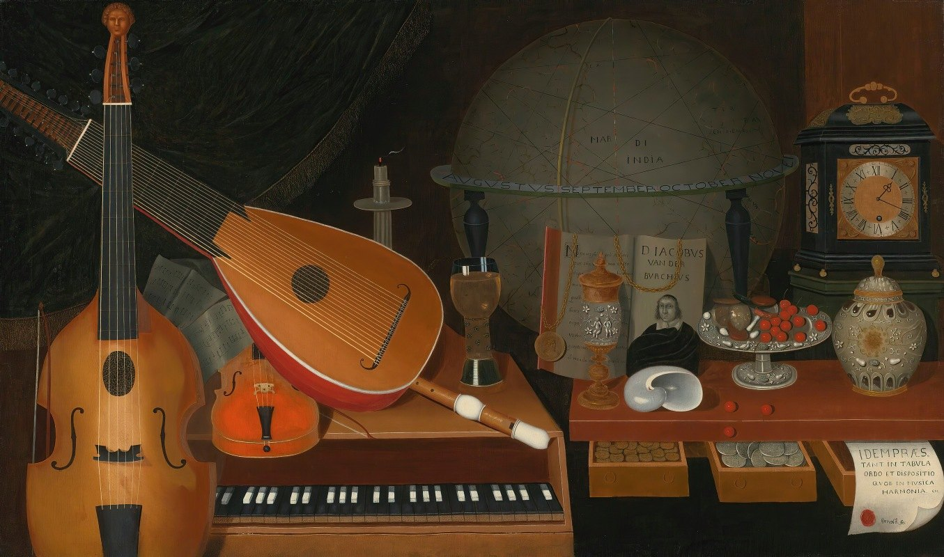 R. Arnold - Vanitas Still Life With Musical Instruments,A Globe And Other Objects