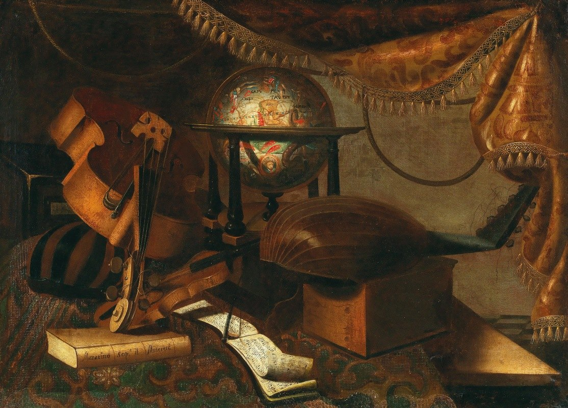 School of Bergamo - Musical instruments, a globe, book and music sheets on a table