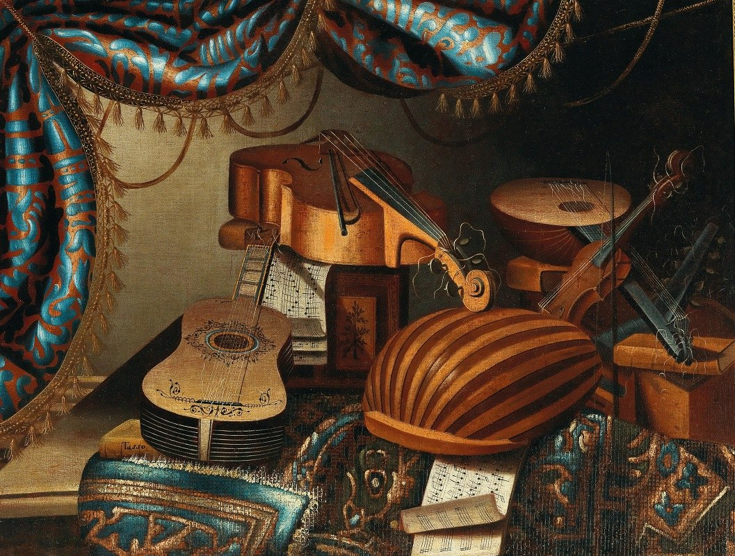 School of Bergamo - Musical instruments, music scores and books on a table draped with a carpet