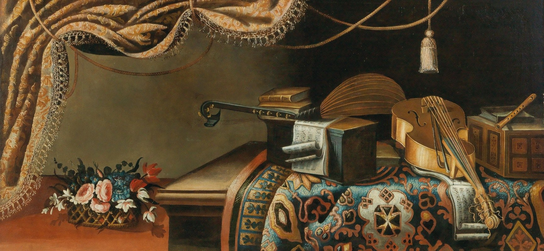 School of Bergamo - Still life with musical instruments and books