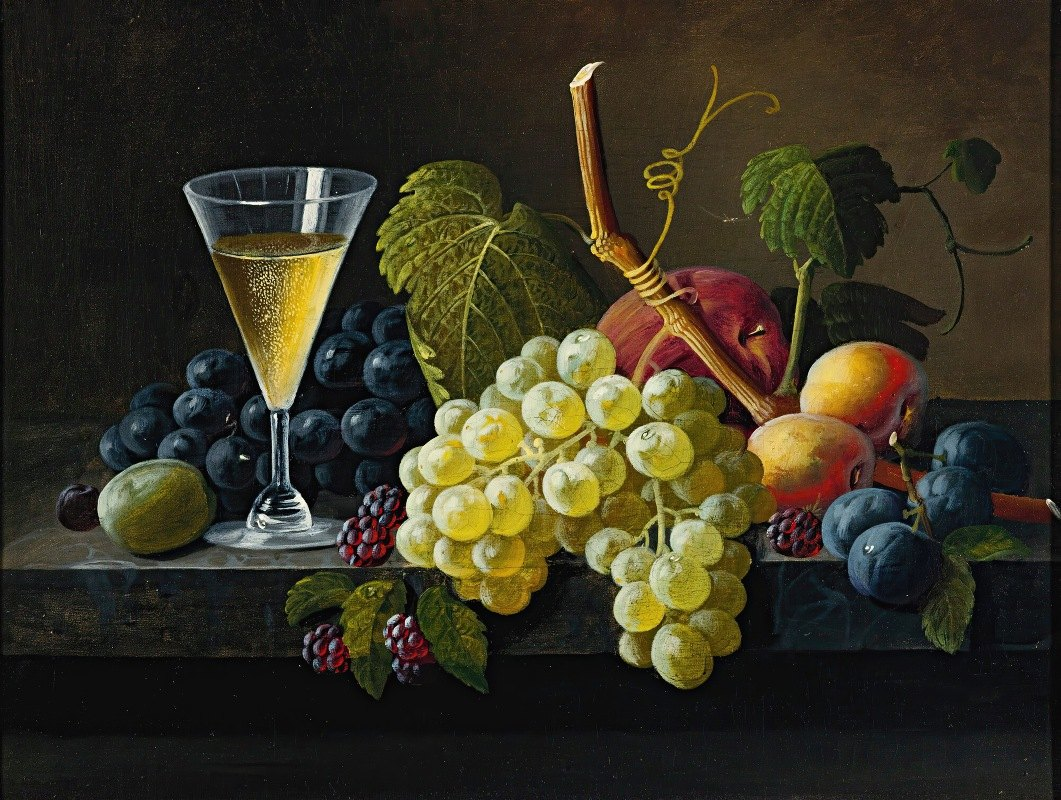 Severin Roesen - Still Life With Champagne Glass