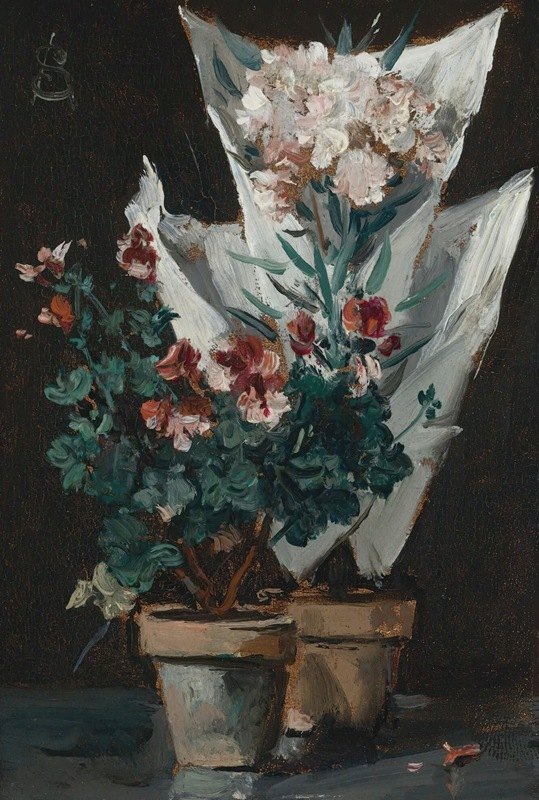 Alfred Stevens - Still life with potted geraniums
