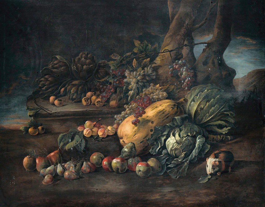 Angelo Maria Rossi - Still life of vegetables on a forest floor