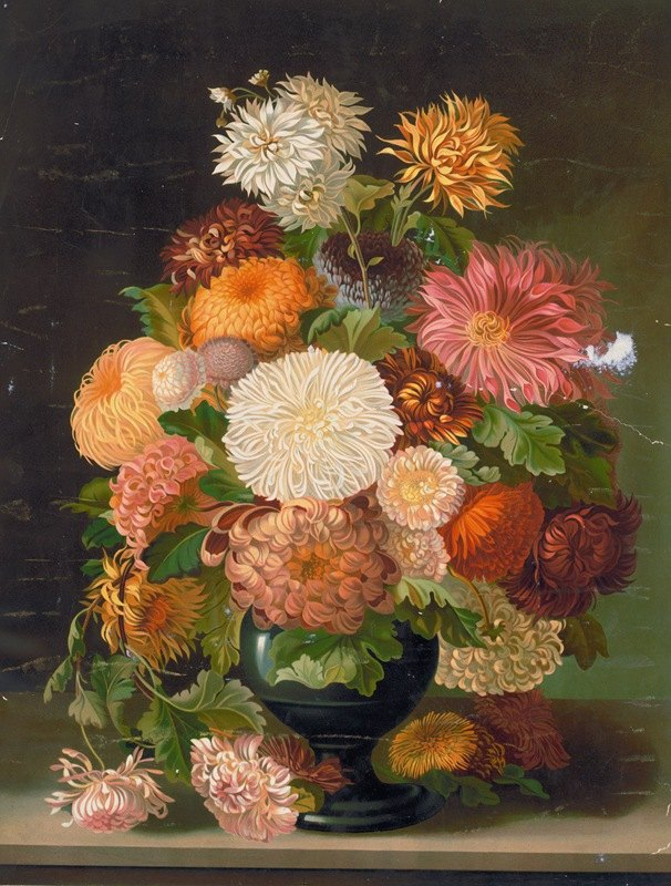 Anonymous - Red, orange, white, and pink flowers in a black vase