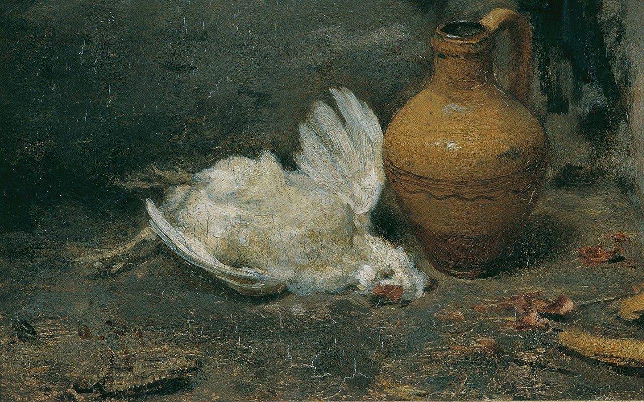 August von Pettenkofen - Stillleben mit totem Huhn und Krug
