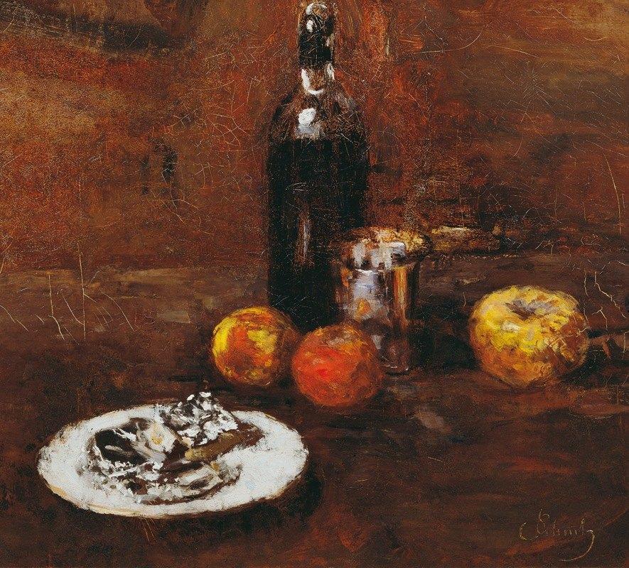 Carl Schuch - Stillleben mit drei Äpfeln und Käse in Staniol