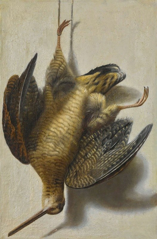 Cornelis Biltius - A trompe l'oeil with a woodcock hanging before a wall