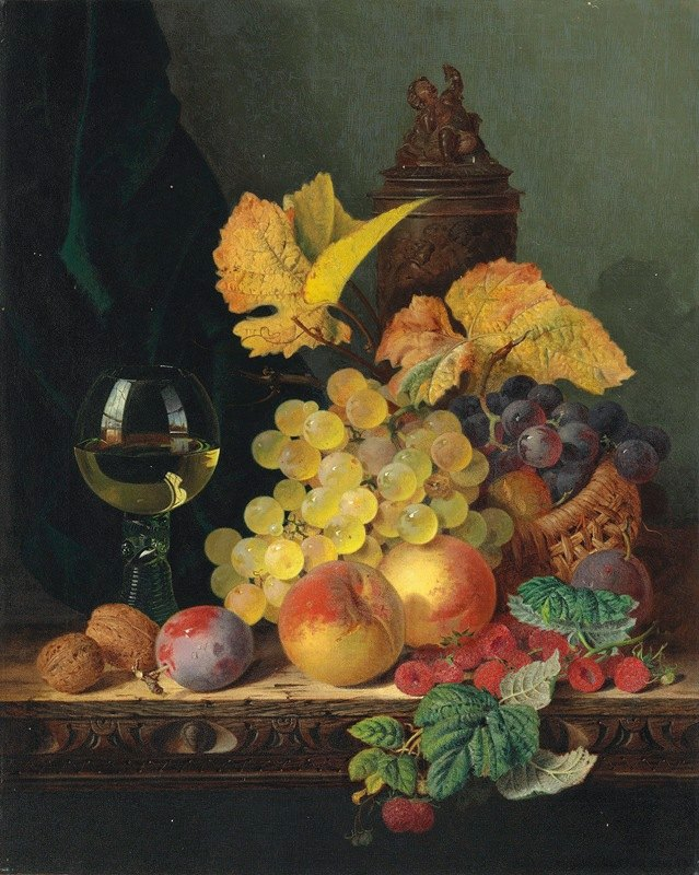 Edward Ladell - A roemer, grapes, peaches, plums, raspberries and walnuts on a wooden ledge