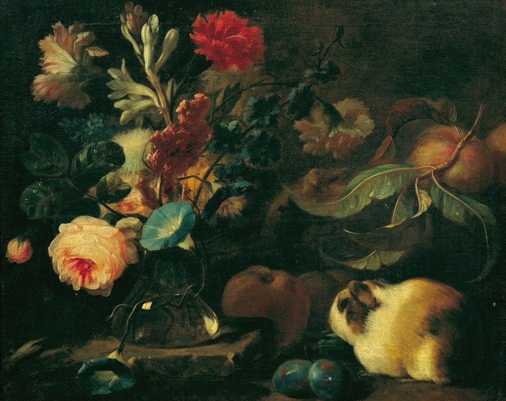Franz Werner Tamm - Stillleben mit Meerschweinchen, Blumen und Früchten