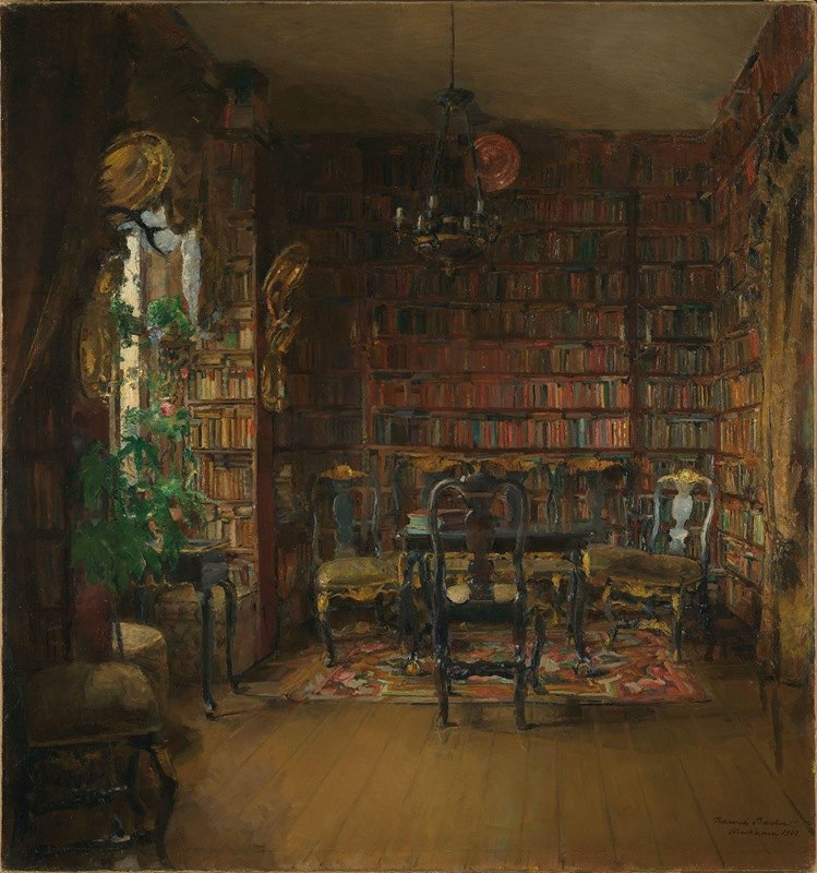 Harriet Backer - The Library of Thorvald Boeck