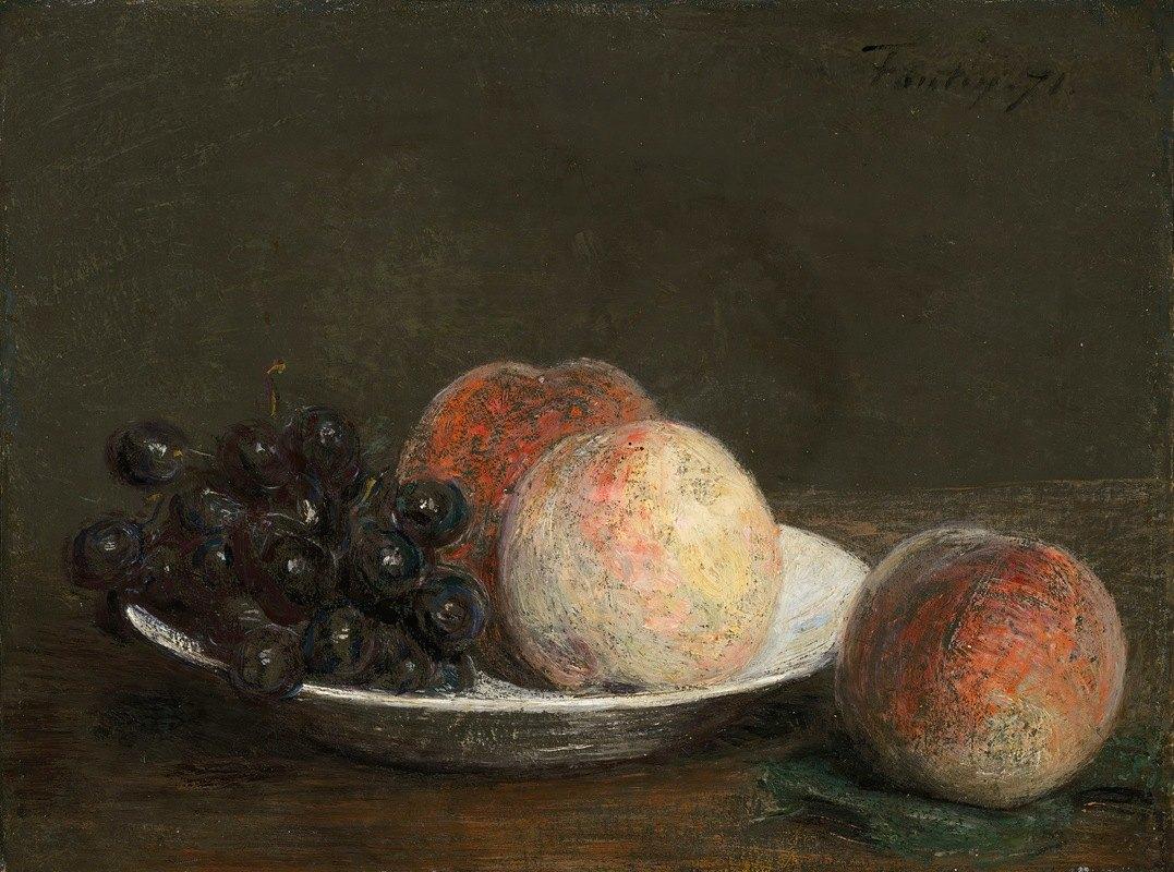 Henri Fantin-Latour - Peaches and grapes in a porcelain bowl