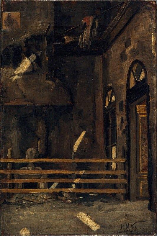 Henri-Martin Vos - Le Foyer de l'Opéra-Comique, après l'incendie du 15 mai 1887