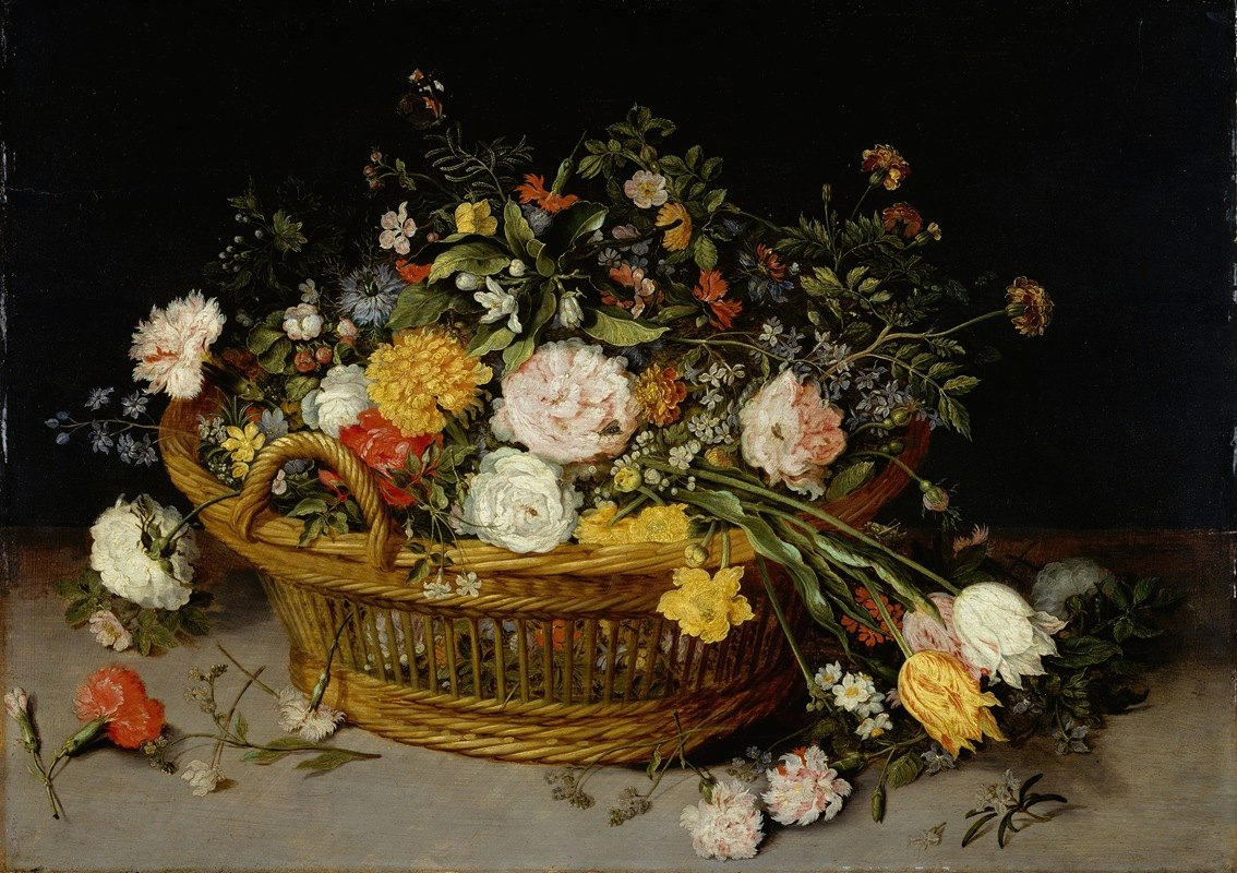 Jan Brueghel the Younger - A Basket of Flowers