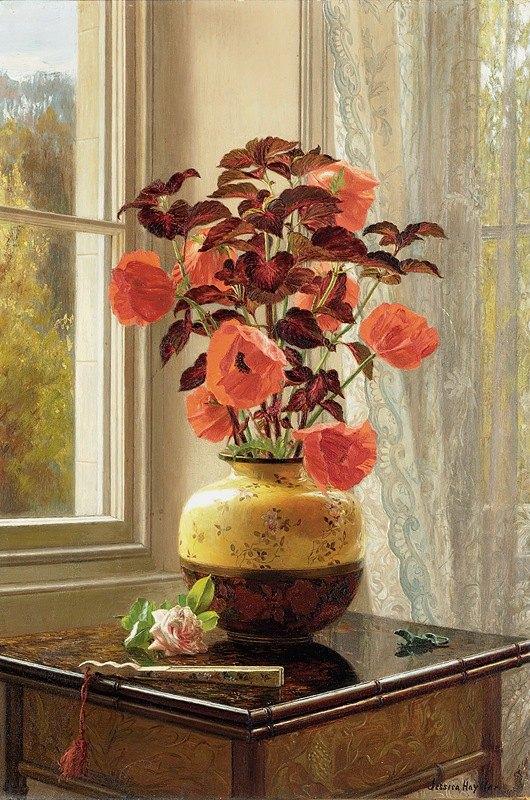 Jessica Hayllar - Oriental Poppy and Coleus in a Cloisonné vase