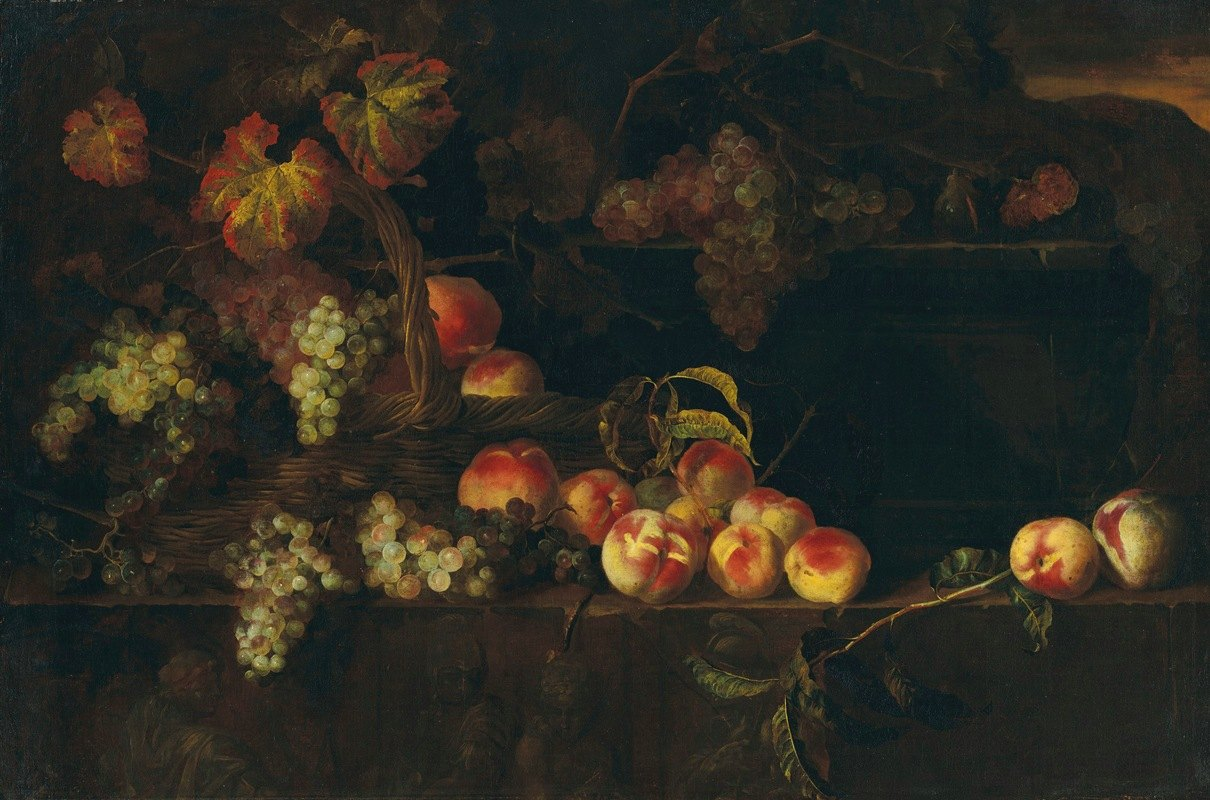Nicolas de Largillière - Grapes and peaches in a wicker basket with other fruit on a ledge, a landscape beyond
