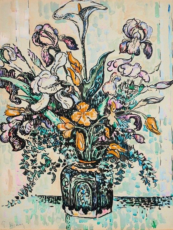 Paul Signac - Bouquet (iris, arum, tulipes) dans un vase d'André Metthey